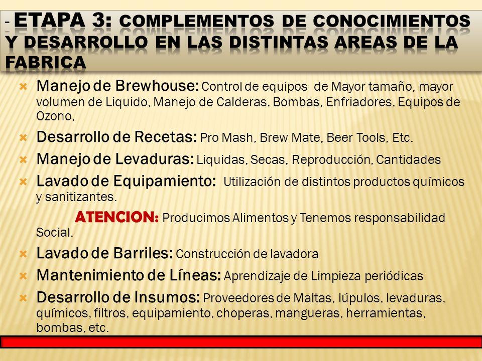 Manejo de Brewhouse: Control de equipos de Mayor tamaño, mayor volumen de Liquido, Manejo de Calderas, Bombas, Enfriadores, Equipos de Ozono, Desarrollo de Recetas: Pro Mash, Brew Mate, Beer Tools, Etc.