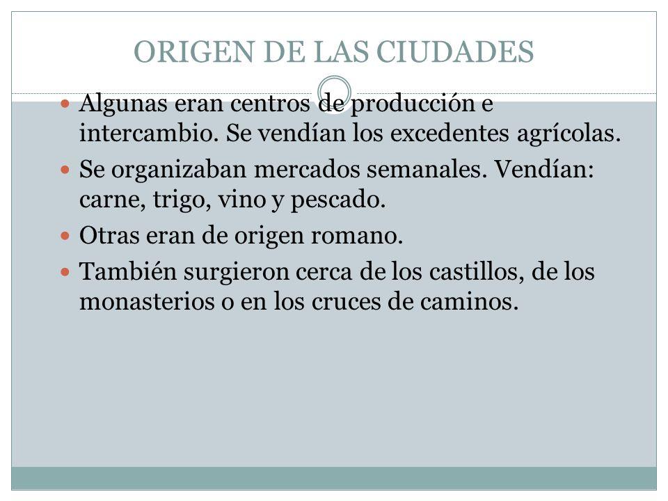 ORIGEN DE LAS CIUDADES Algunas eran centros de producción e intercambio. Se vendían los excedentes agrícolas. Se organizaban mercados semanales. Vendí