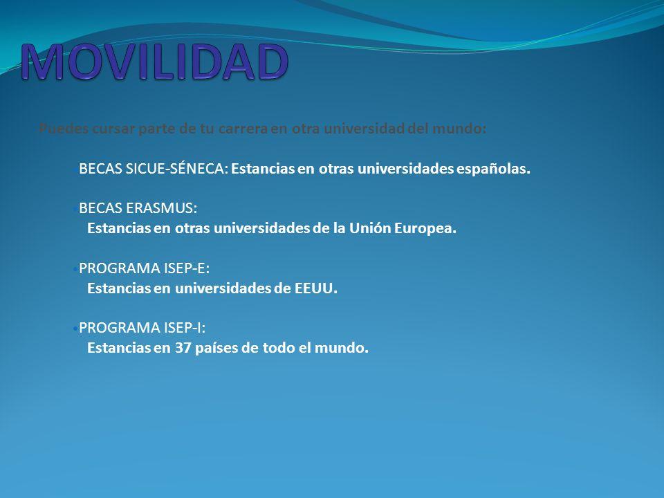 Puedes cursar parte de tu carrera en otra universidad del mundo: BECAS SICUE-SÉNECA: Estancias en otras universidades españolas.