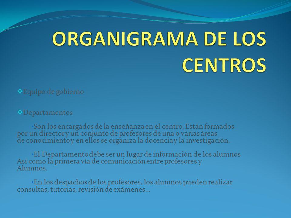 Equipo de gobierno Departamentos Son los encargados de la enseñanza en el centro.