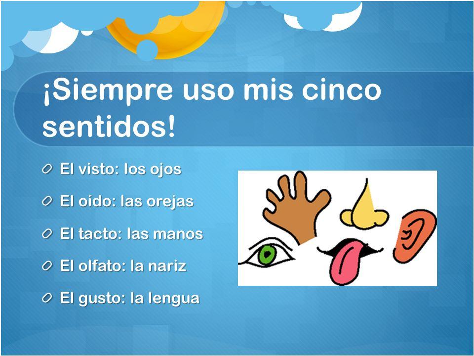 ¡Siempre uso mis cinco sentidos! El visto: los ojos El oído: las orejas El tacto: las manos El olfato: la nariz El gusto: la lengua