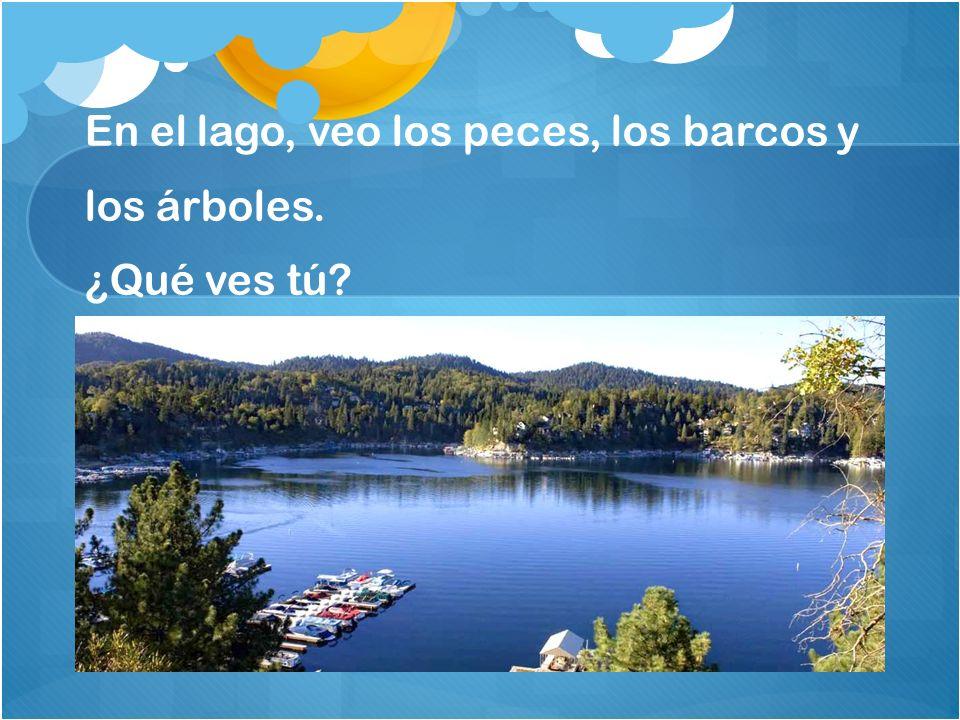 En el lago, veo los peces, los barcos y los árboles. ¿Qué ves tú?