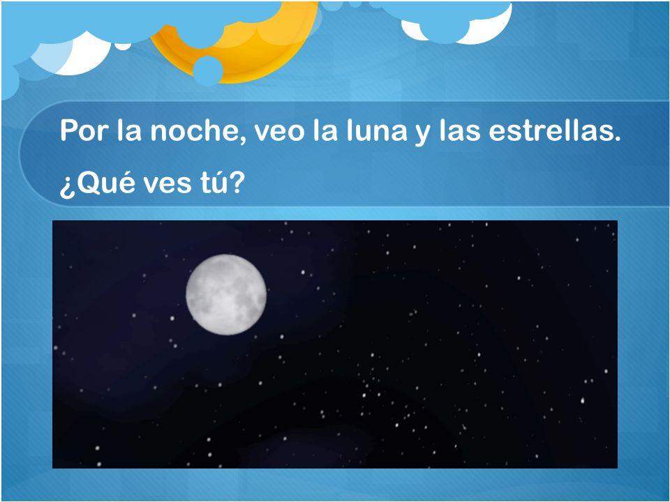 Por la noche, veo la luna y las estrellas. ¿Qué ves tú?