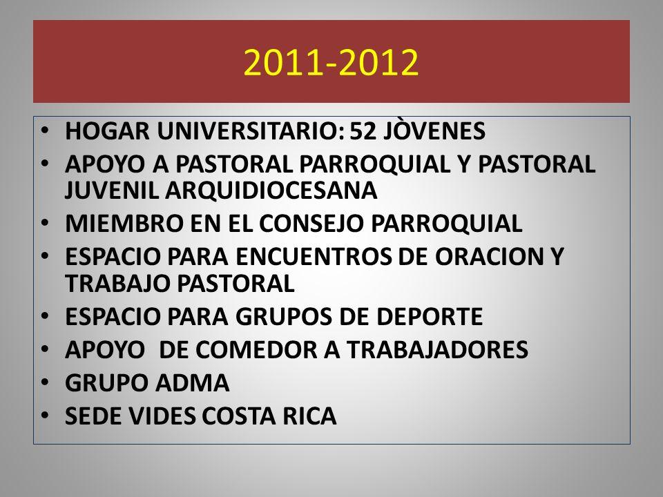 2011-2012 HOGAR UNIVERSITARIO: 52 JÒVENES APOYO A PASTORAL PARROQUIAL Y PASTORAL JUVENIL ARQUIDIOCESANA MIEMBRO EN EL CONSEJO PARROQUIAL ESPACIO PARA