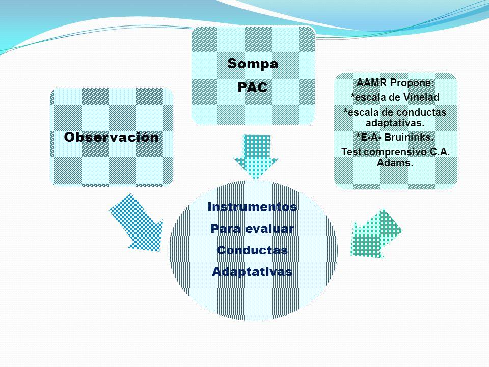 Instrumentos Para evaluar Conductas Adaptativas Observación Sompa PAC AAMR Propone: *escala de Vinelad *escala de conductas adaptativas. *E-A- Bruinin