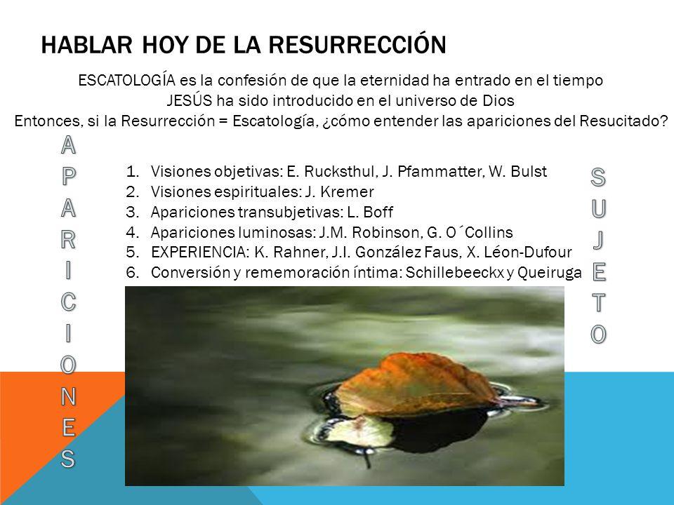El sujeto iniciador y activo de todo el acontecer es, pues, Dios o Jesucristo (no la subjetividad interpretadora de los discípulos).