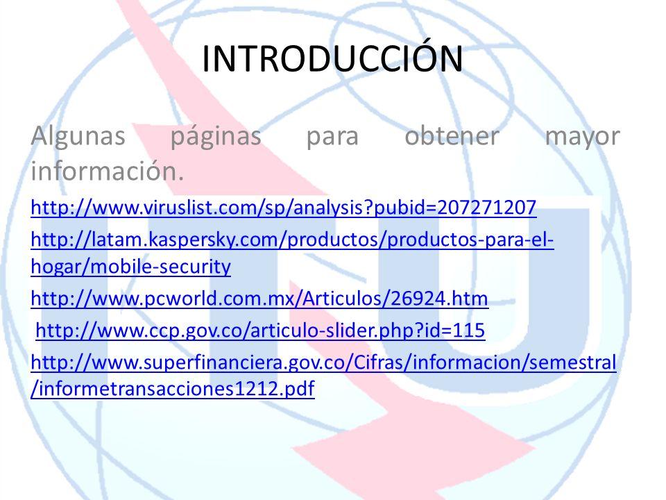 INTRODUCCIÓN Algunas páginas para obtener mayor información. http://www.viruslist.com/sp/analysis?pubid=207271207 http://latam.kaspersky.com/productos