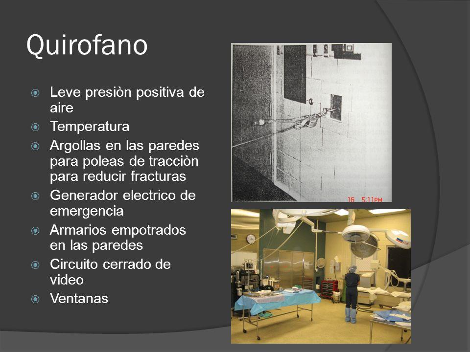 Quirofano Leve presiòn positiva de aire Temperatura Argollas en las paredes para poleas de tracciòn para reducir fracturas Generador electrico de emer