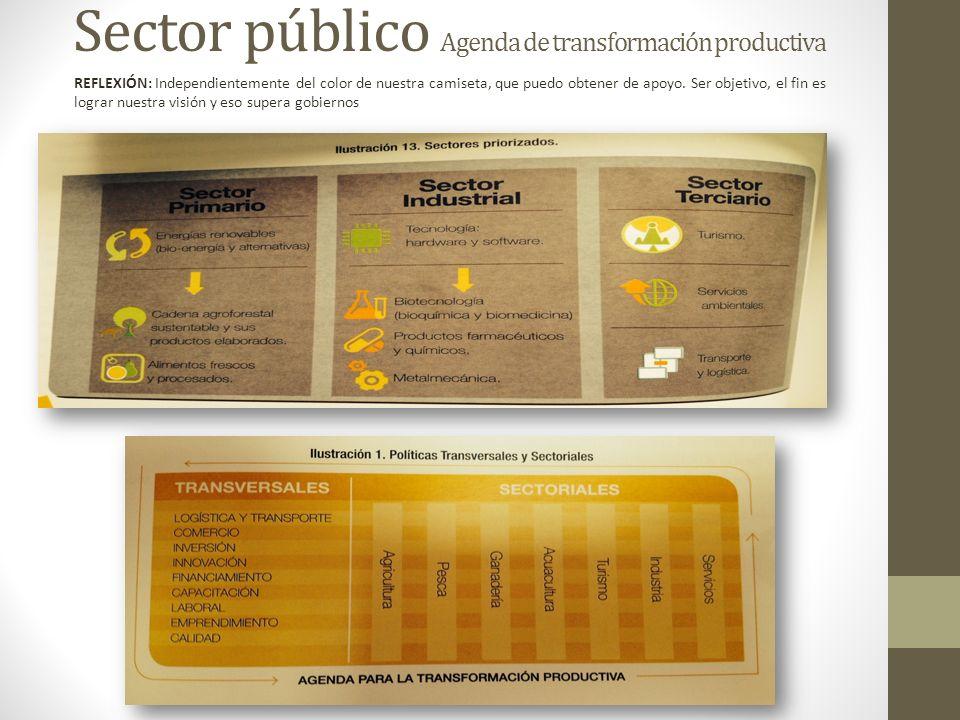 Sector público Agenda de transformación productiva REFLEXIÓN: Independientemente del color de nuestra camiseta, que puedo obtener de apoyo. Ser objeti