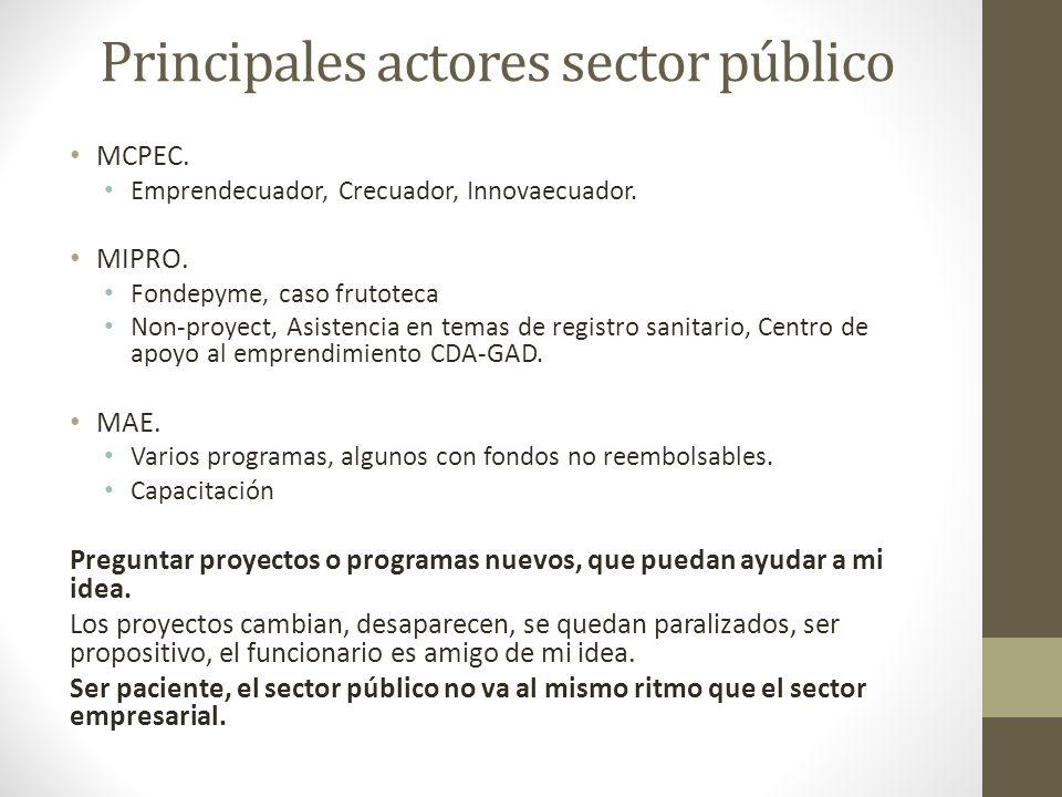 Principales actores sector público MCPEC. Emprendecuador, Crecuador, Innovaecuador. MIPRO. Fondepyme, caso frutoteca Non-proyect, Asistencia en temas