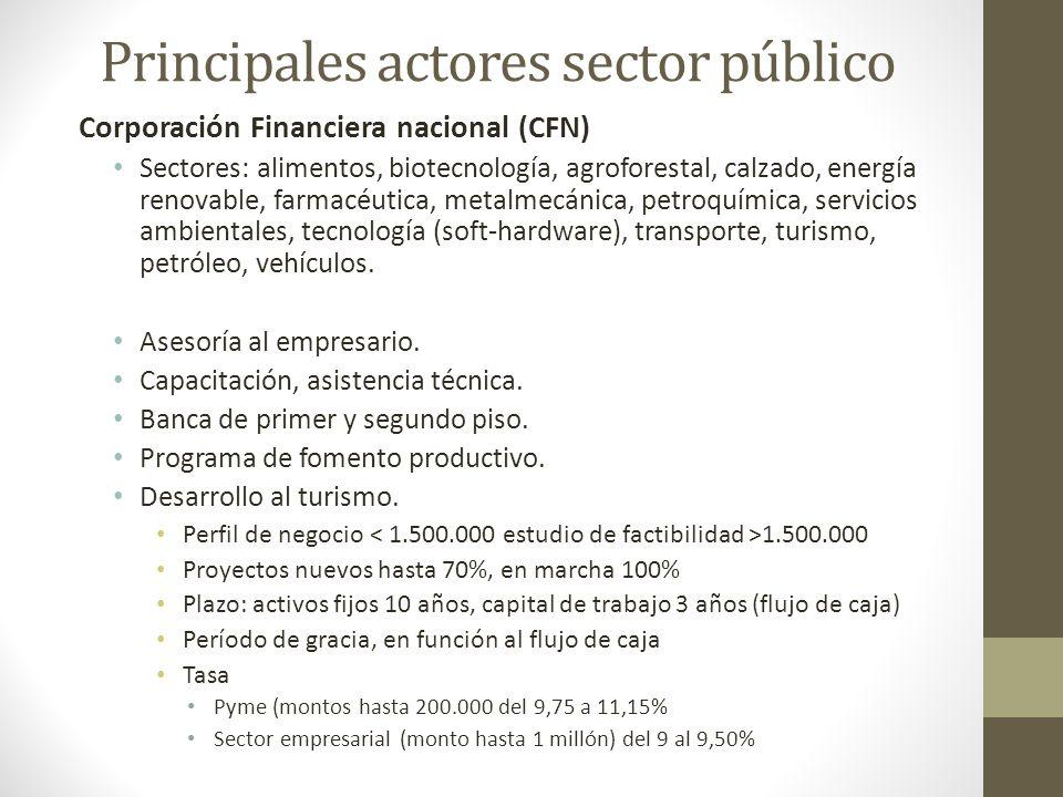 Principales actores sector público Corporación Financiera nacional (CFN) Sectores: alimentos, biotecnología, agroforestal, calzado, energía renovable,