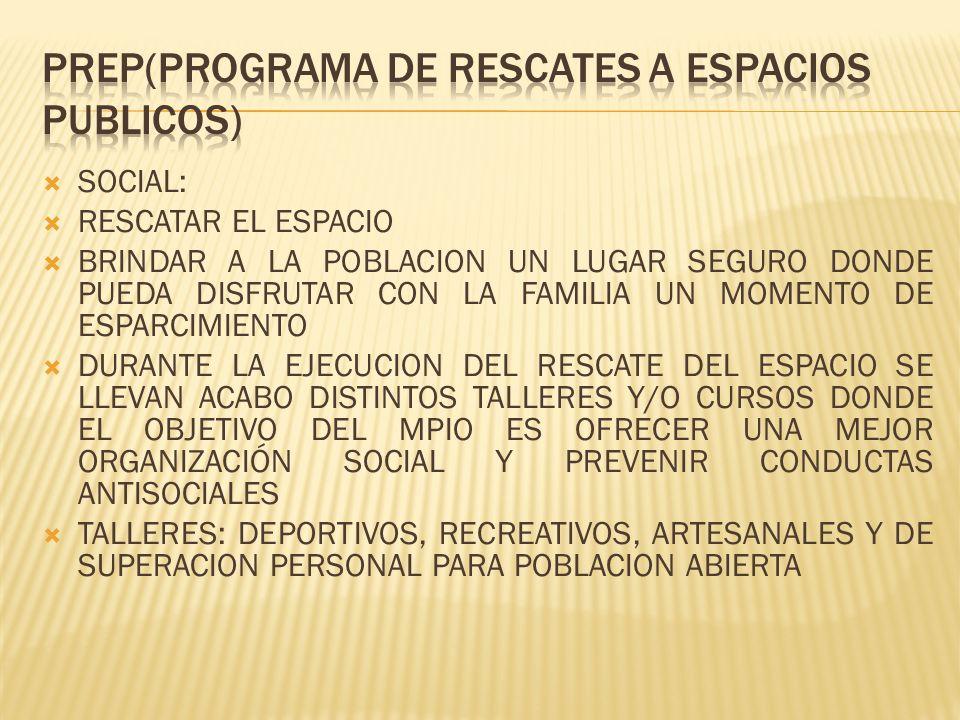 SOCIAL: RESCATAR EL ESPACIO BRINDAR A LA POBLACION UN LUGAR SEGURO DONDE PUEDA DISFRUTAR CON LA FAMILIA UN MOMENTO DE ESPARCIMIENTO DURANTE LA EJECUCION DEL RESCATE DEL ESPACIO SE LLEVAN ACABO DISTINTOS TALLERES Y/O CURSOS DONDE EL OBJETIVO DEL MPIO ES OFRECER UNA MEJOR ORGANIZACIÓN SOCIAL Y PREVENIR CONDUCTAS ANTISOCIALES TALLERES: DEPORTIVOS, RECREATIVOS, ARTESANALES Y DE SUPERACION PERSONAL PARA POBLACION ABIERTA