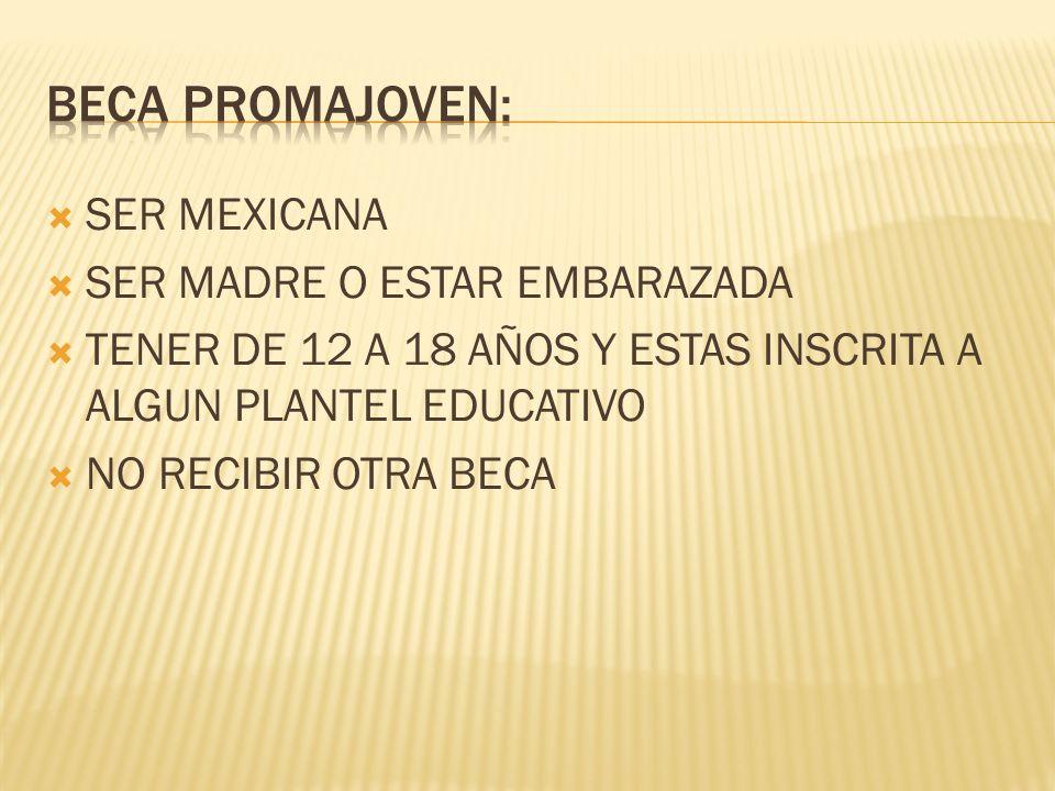 SER MEXICANA SER MADRE O ESTAR EMBARAZADA TENER DE 12 A 18 AÑOS Y ESTAS INSCRITA A ALGUN PLANTEL EDUCATIVO NO RECIBIR OTRA BECA