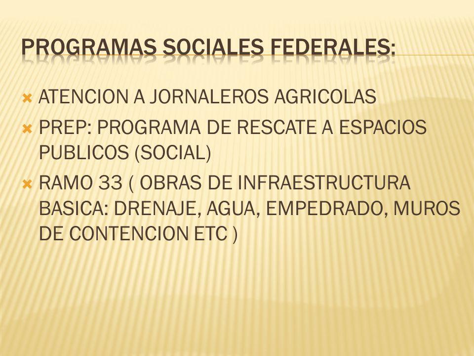 ATENCION A JORNALEROS AGRICOLAS PREP: PROGRAMA DE RESCATE A ESPACIOS PUBLICOS (SOCIAL) RAMO 33 ( OBRAS DE INFRAESTRUCTURA BASICA: DRENAJE, AGUA, EMPEDRADO, MUROS DE CONTENCION ETC )