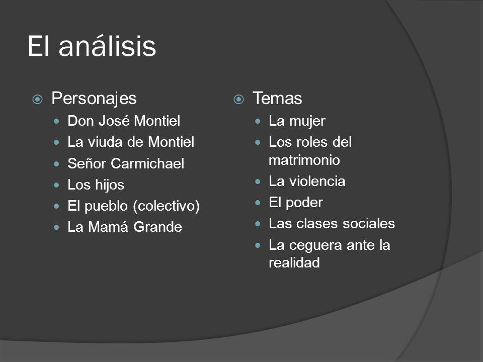 El análisis Personajes Don José Montiel La viuda de Montiel Señor Carmichael Los hijos El pueblo (colectivo) La Mamá Grande Temas La mujer Los roles d