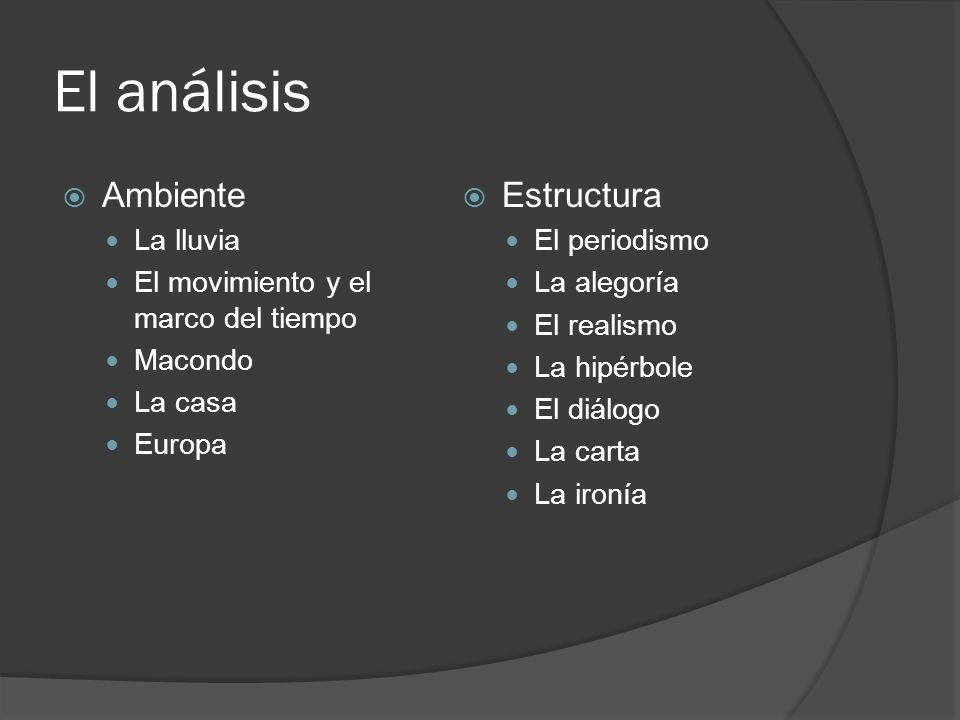 El análisis Ambiente La lluvia El movimiento y el marco del tiempo Macondo La casa Europa Estructura El periodismo La alegoría El realismo La hipérbol
