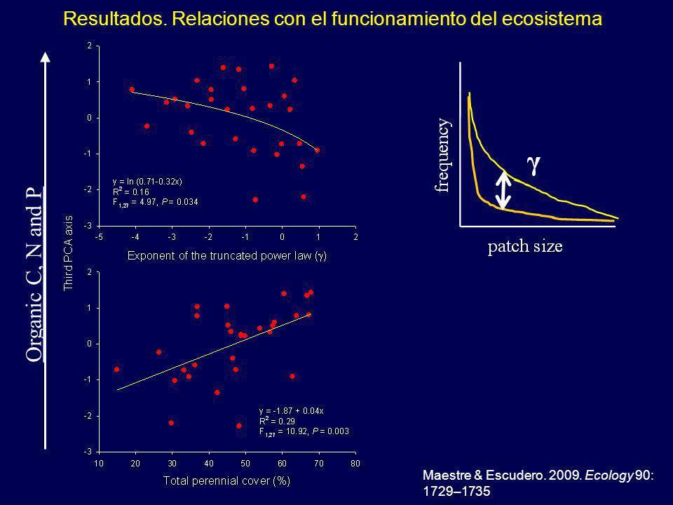 Resultados. Relaciones con el funcionamiento del ecosistema Maestre & Escudero.