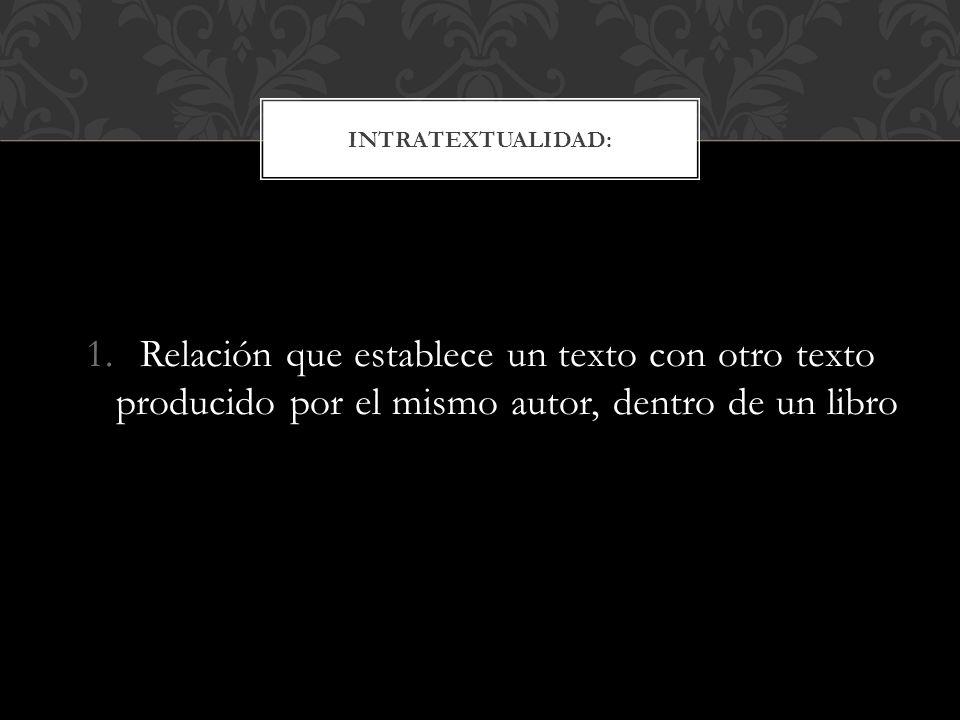 1.Relación que establece un texto con otro texto producido por el mismo autor, dentro de un libro INTRATEXTUALIDAD: