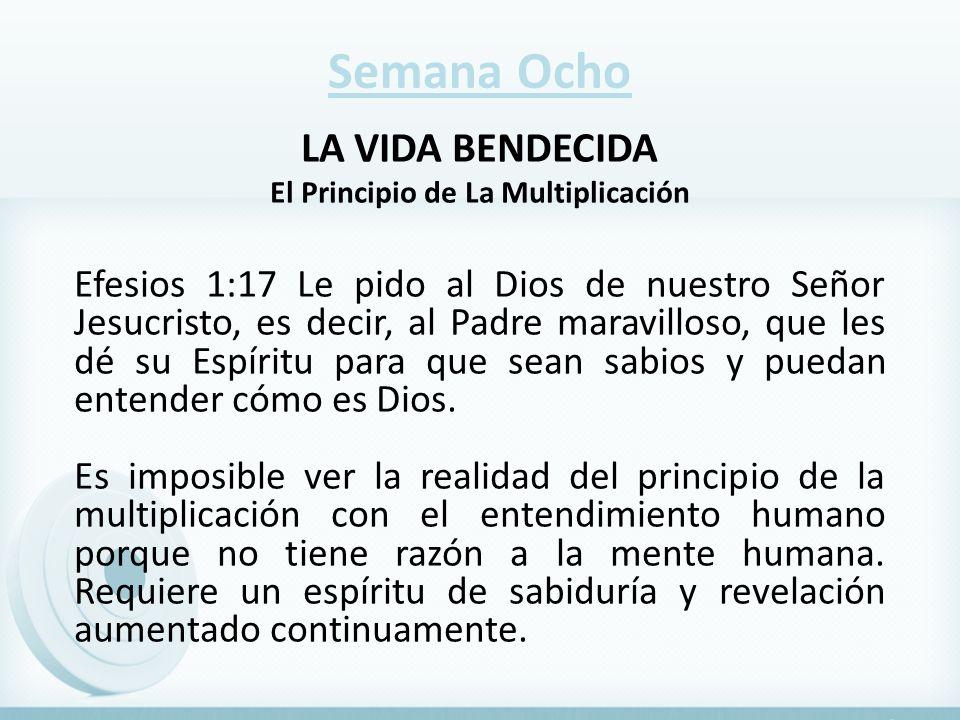 Semana Ocho LA VIDA BENDECIDA El Principio de La Multiplicación Efesios 1:17 Le pido al Dios de nuestro Señor Jesucristo, es decir, al Padre maravillo