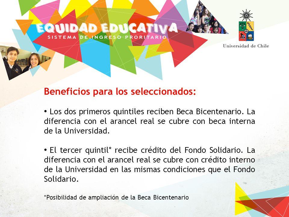 Beneficios para los seleccionados: Los dos primeros quintiles reciben Beca Bicentenario.