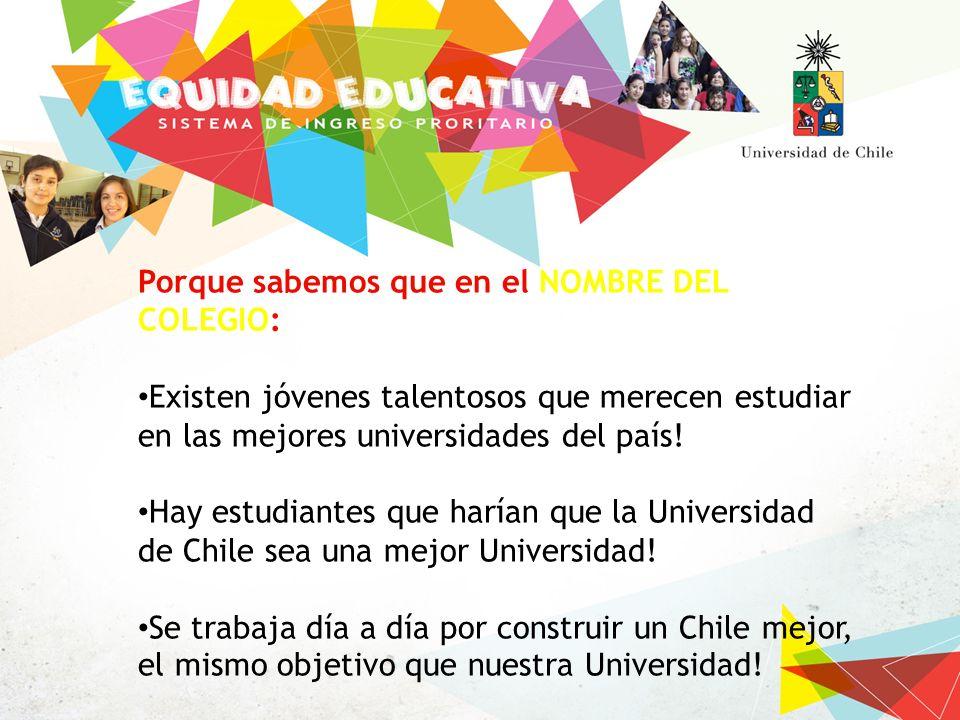 Porque sabemos que en el NOMBRE DEL COLEGIO: Existen jóvenes talentosos que merecen estudiar en las mejores universidades del país.