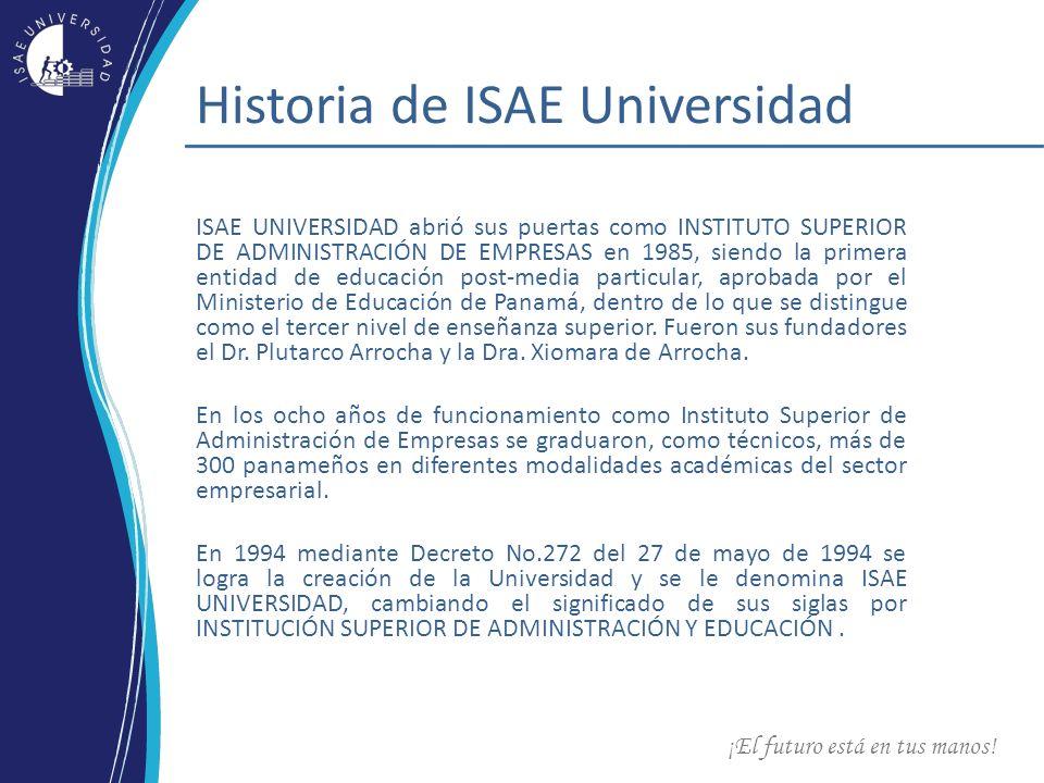 ¡El futuro está en tus manos! Historia de ISAE Universidad ISAE UNIVERSIDAD abrió sus puertas como INSTITUTO SUPERIOR DE ADMINISTRACIÓN DE EMPRESAS en