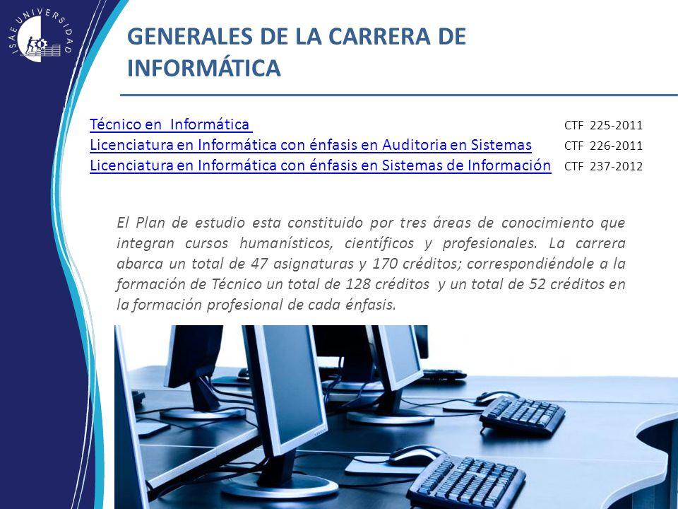 ¡El futuro está en tus manos! GENERALES DE LA CARRERA DE INFORMÁTICA Técnico en Informática Técnico en Informática CTF 225-2011 Licenciatura en Inform
