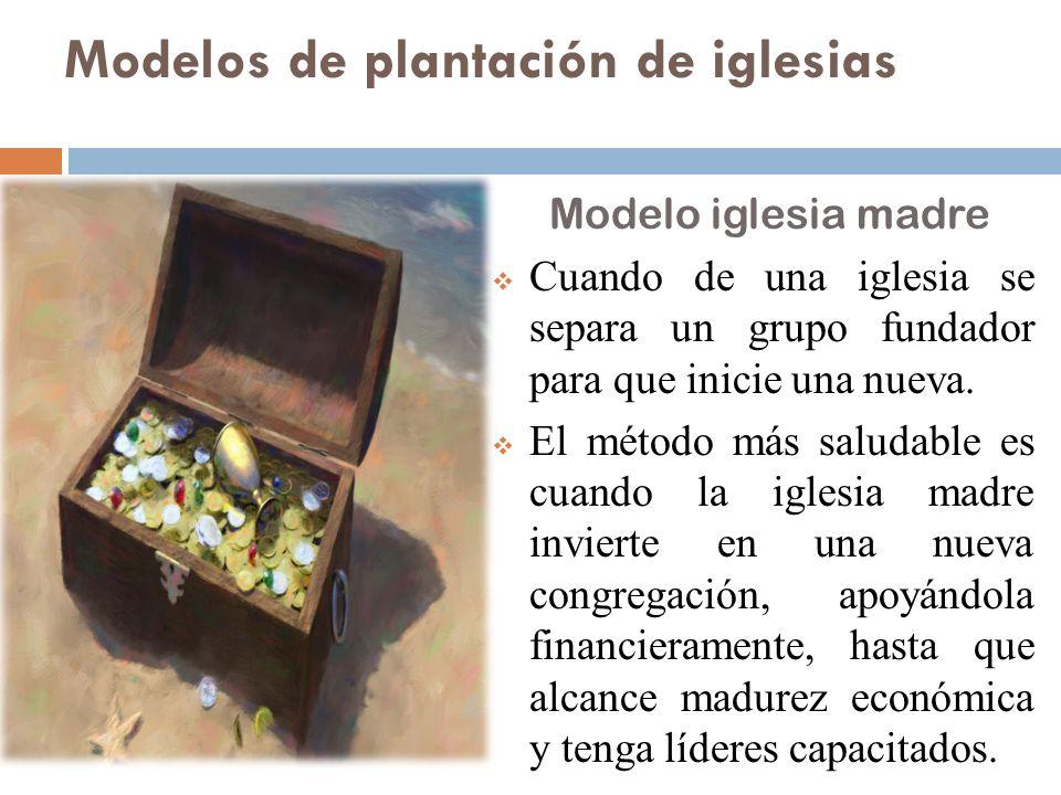 Modelos de plantación de iglesias Modelo iglesia madre Cuando de una iglesia se separa un grupo fundador para que inicie una nueva. El método más salu