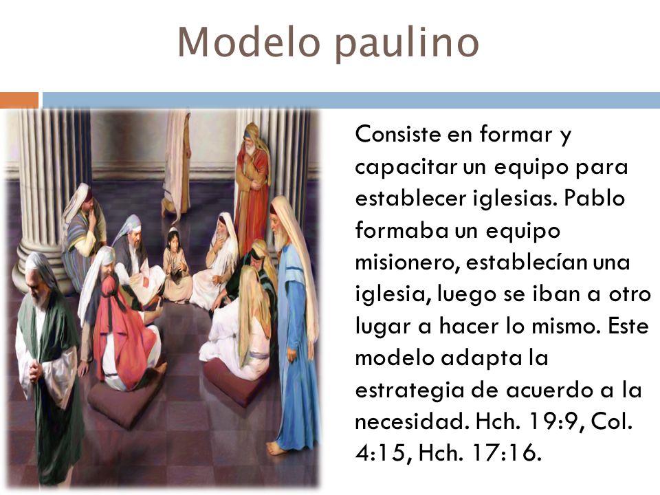 Modelo paulino Consiste en formar y capacitar un equipo para establecer iglesias. Pablo formaba un equipo misionero, establecían una iglesia, luego se