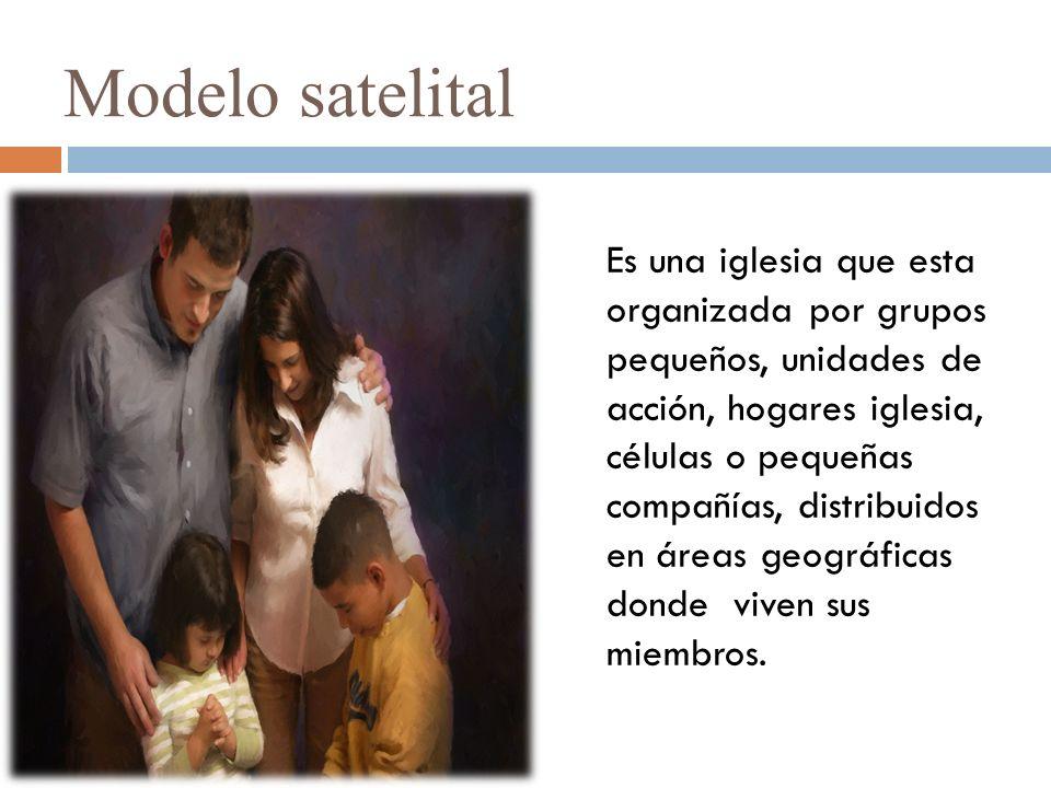 Modelo satelital Es una iglesia que esta organizada por grupos pequeños, unidades de acción, hogares iglesia, células o pequeñas compañías, distribuidos en áreas geográficas donde viven sus miembros.