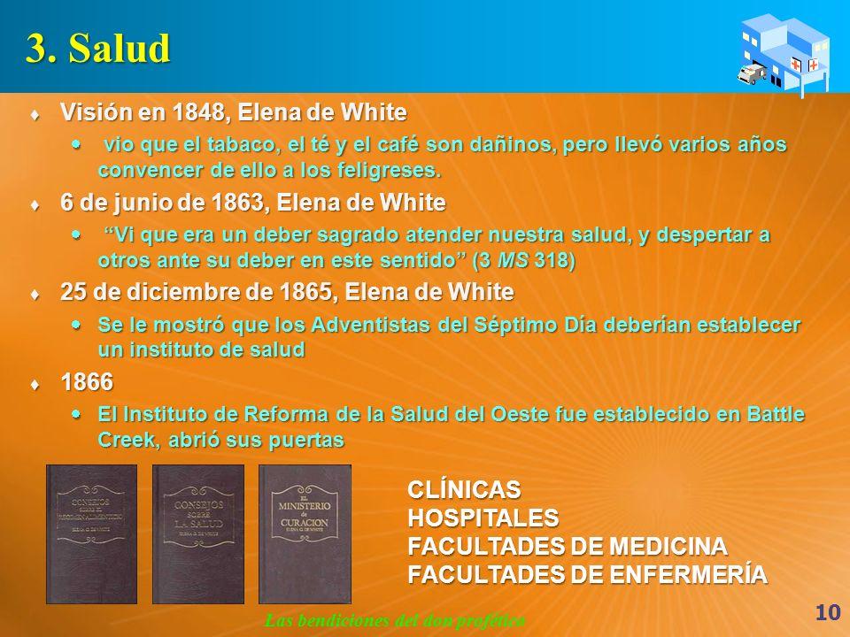 3. Salud Visión en 1848, Elena de White Visión en 1848, Elena de White vio que el tabaco, el té y el café son dañinos, pero llevó varios años convence