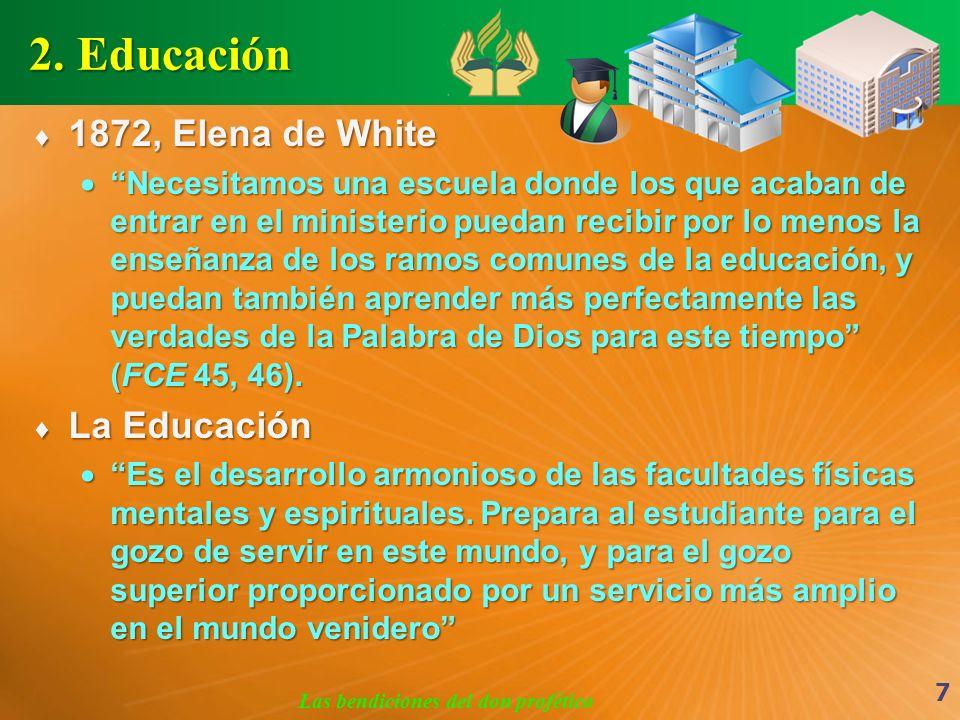 2. Educación 1872, Elena de White 1872, Elena de White Necesitamos una escuela donde los que acaban de entrar en el ministerio puedan recibir por lo m