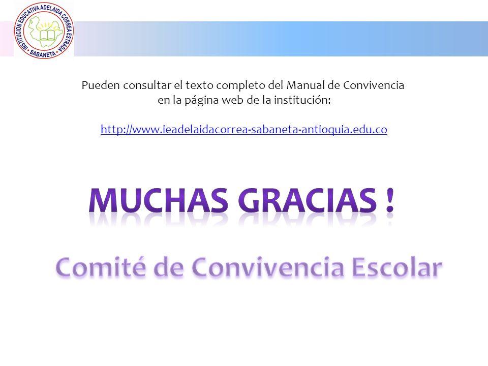 Pueden consultar el texto completo del Manual de Convivencia en la página web de la institución: http://www.ieadelaidacorrea-sabaneta-antioquia.edu.co