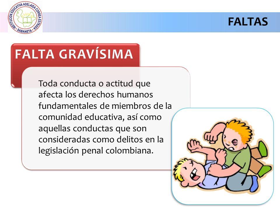 FALTAS Toda conducta o actitud que afecta los derechos humanos fundamentales de miembros de la comunidad educativa, así como aquellas conductas que son consideradas como delitos en la legislación penal colombiana.