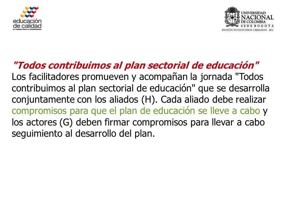 Todos contribuimos al plan sectorial de educación Los facilitadores promueven y acompañan la jornada Todos contribuimos al plan sectorial de educación que se desarrolla conjuntamente con los aliados (H).