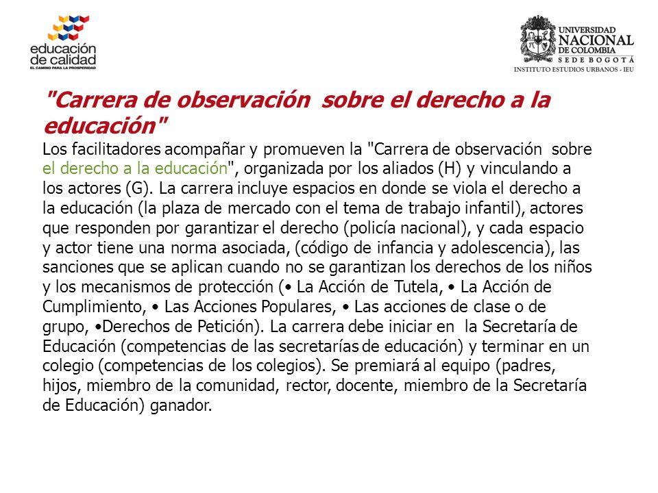 Carrera de observación sobre el derecho a la educación Los facilitadores acompañar y promueven la Carrera de observación sobre el derecho a la educación , organizada por los aliados (H) y vinculando a los actores (G).