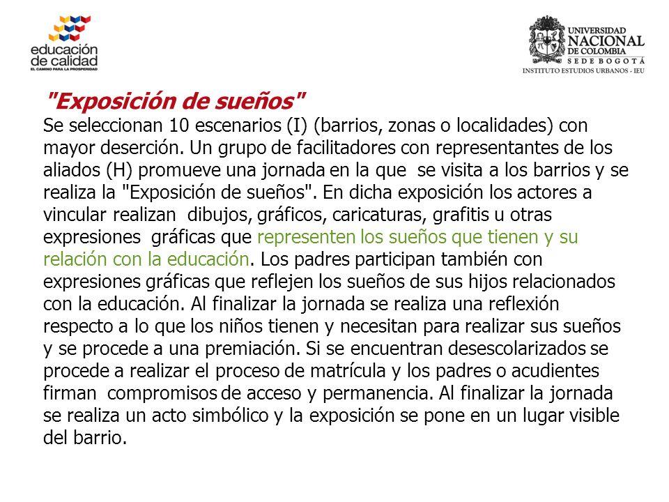 Exposición de sueños Se seleccionan 10 escenarios (I) (barrios, zonas o localidades) con mayor deserción.
