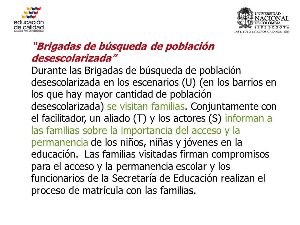 Brigadas de búsqueda de población desescolarizada Durante las Brigadas de búsqueda de población desescolarizada en los escenarios (U) (en los barrios en los que hay mayor cantidad de población desescolarizada) se visitan familias.