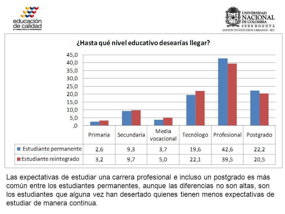 Las expectativas de estudiar una carrera profesional e incluso un postgrado es más común entre los estudiantes permanentes, aunque las diferencias no son altas, son los estudiantes que alguna vez han desertado quienes tienen menos expectativas de estudiar de manera continua.
