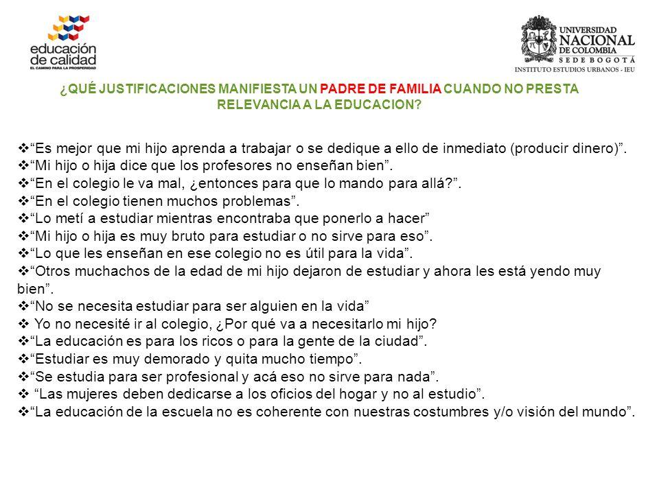 ¿QUÉ JUSTIFICACIONES MANIFIESTA UN PADRE DE FAMILIA CUANDO NO PRESTA RELEVANCIA A LA EDUCACION.