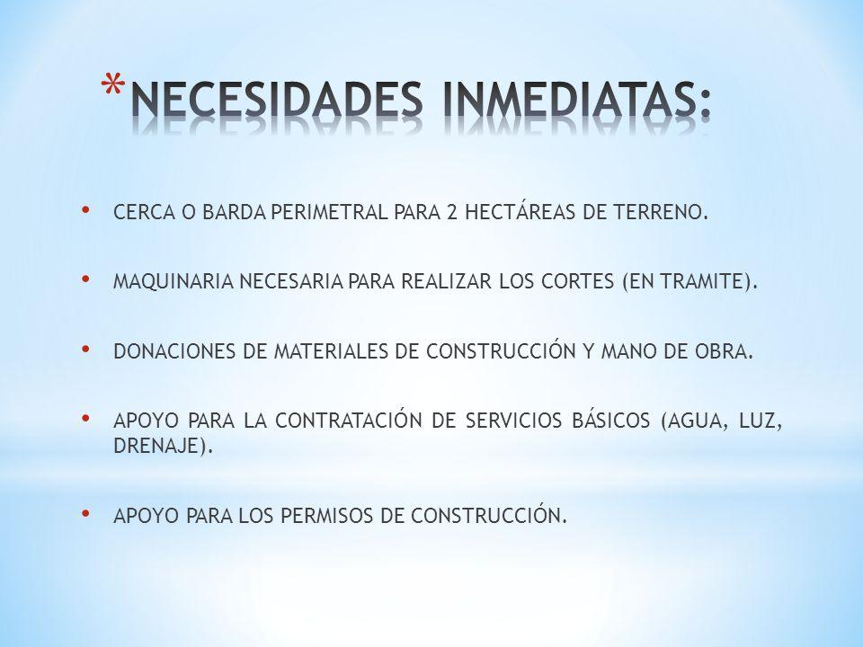 CERCA O BARDA PERIMETRAL PARA 2 HECTÁREAS DE TERRENO. MAQUINARIA NECESARIA PARA REALIZAR LOS CORTES (EN TRAMITE). DONACIONES DE MATERIALES DE CONSTRUC