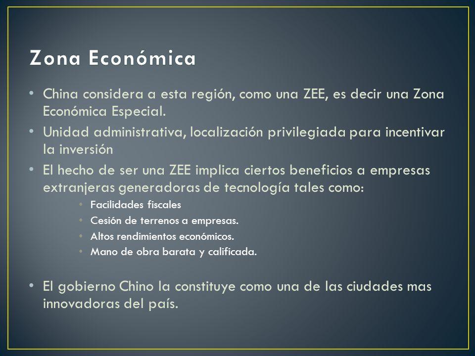 China considera a esta región, como una ZEE, es decir una Zona Económica Especial. Unidad administrativa, localización privilegiada para incentivar la