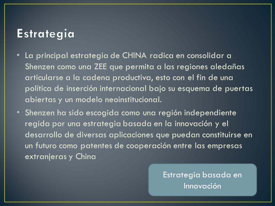 La principal estrategia de CHINA radica en consolidar a Shenzen como una ZEE que permita a las regiones aledañas articularse a la cadena productiva, esto con el fin de una política de inserción internacional bajo su esquema de puertas abiertas y un modelo neoinstitucional.