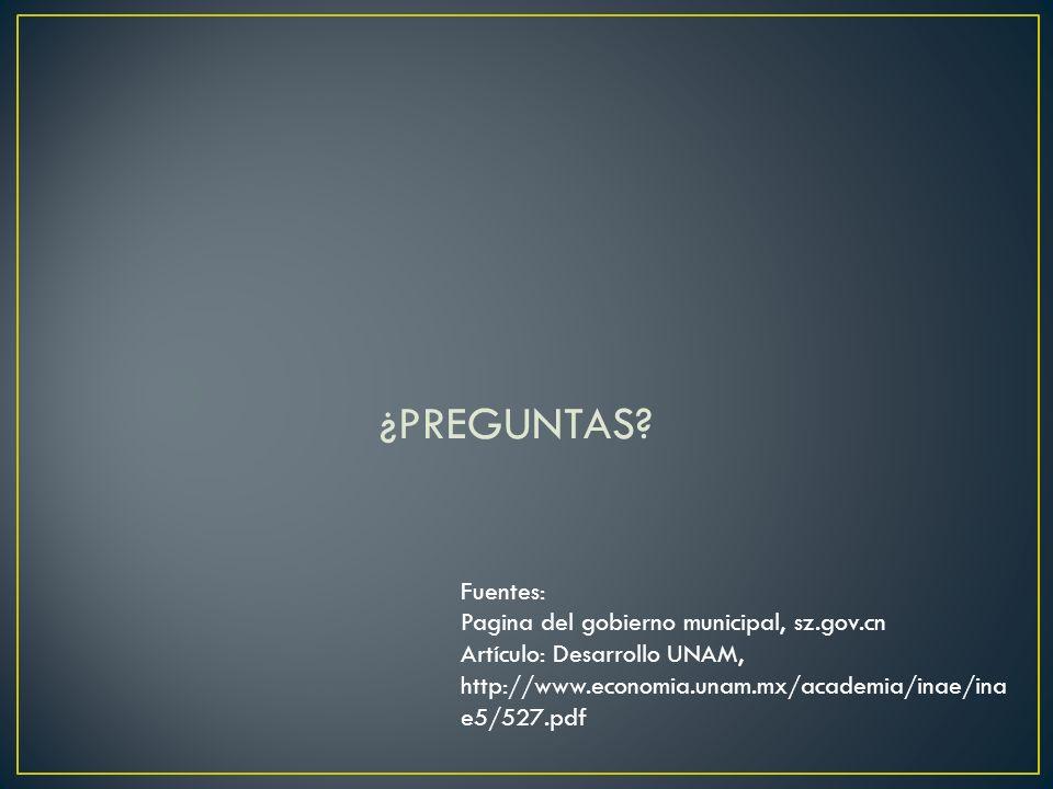 ¿PREGUNTAS? Fuentes: Pagina del gobierno municipal, sz.gov.cn Artículo: Desarrollo UNAM, http://www.economia.unam.mx/academia/inae/ina e5/527.pdf