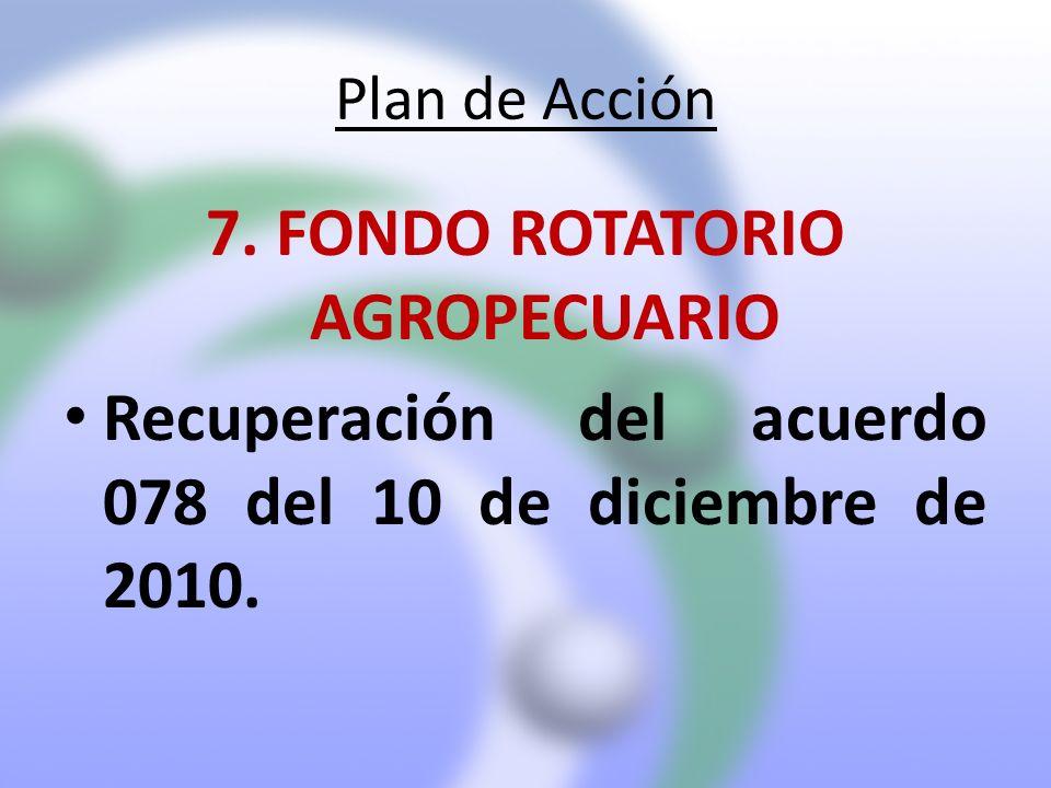 Plan de Acción 7. FONDO ROTATORIO AGROPECUARIO Recuperación del acuerdo 078 del 10 de diciembre de 2010.