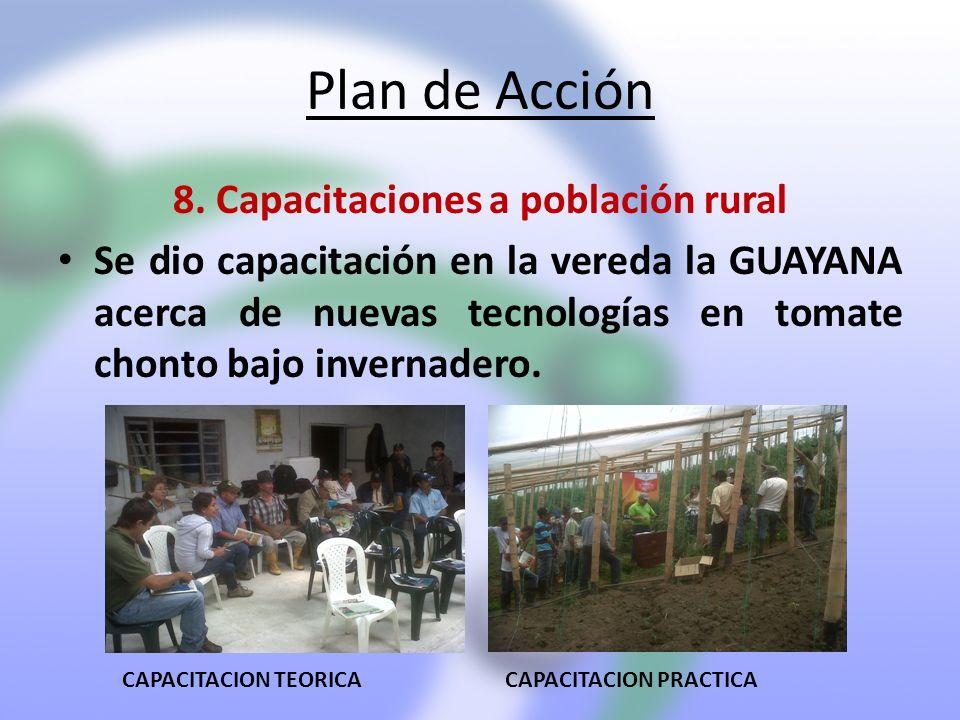 Plan de Acción 8. Capacitaciones a población rural Se dio capacitación en la vereda la GUAYANA acerca de nuevas tecnologías en tomate chonto bajo inve