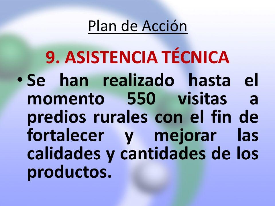 Plan de Acción 9. ASISTENCIA TÉCNICA Se han realizado hasta el momento 550 visitas a predios rurales con el fin de fortalecer y mejorar las calidades