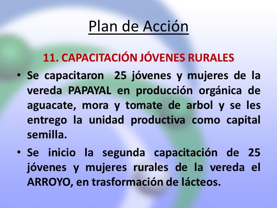 Plan de Acción 11. CAPACITACIÓN JÓVENES RURALES Se capacitaron 25 jóvenes y mujeres de la vereda PAPAYAL en producción orgánica de aguacate, mora y to