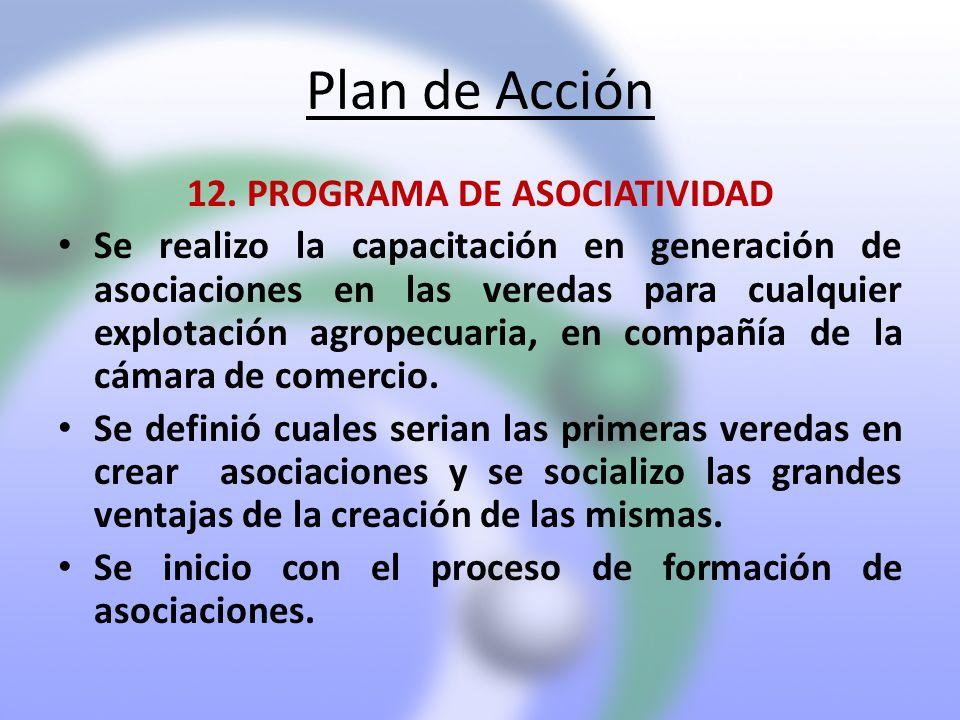 Plan de Acción 12. PROGRAMA DE ASOCIATIVIDAD Se realizo la capacitación en generación de asociaciones en las veredas para cualquier explotación agrope