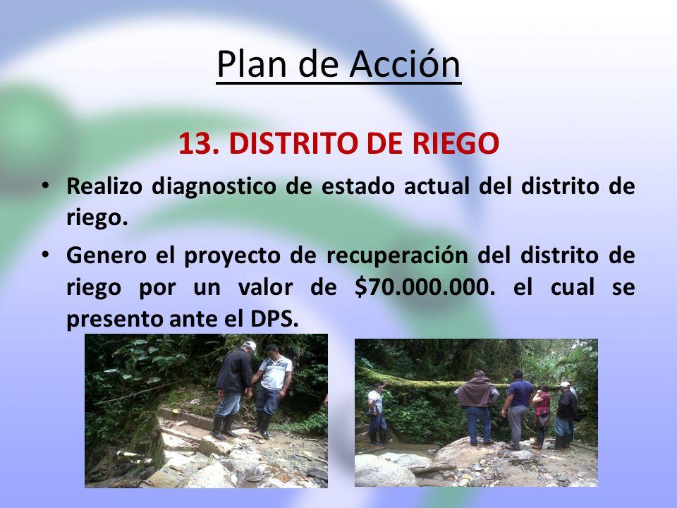 Plan de Acción 13. DISTRITO DE RIEGO Realizo diagnostico de estado actual del distrito de riego. Genero el proyecto de recuperación del distrito de ri